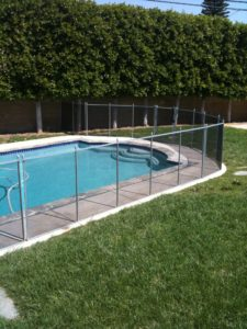 Grey and black OC pool fence